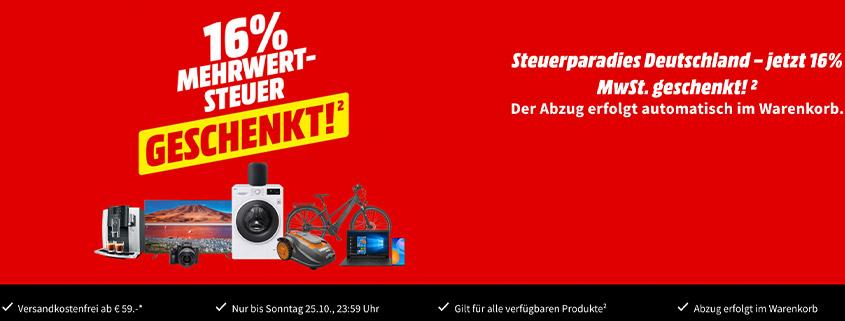 Media Markt: 16% Mehrwertsteuer geschenkt - nur bis Sonntag, 25. Oktober 2020
