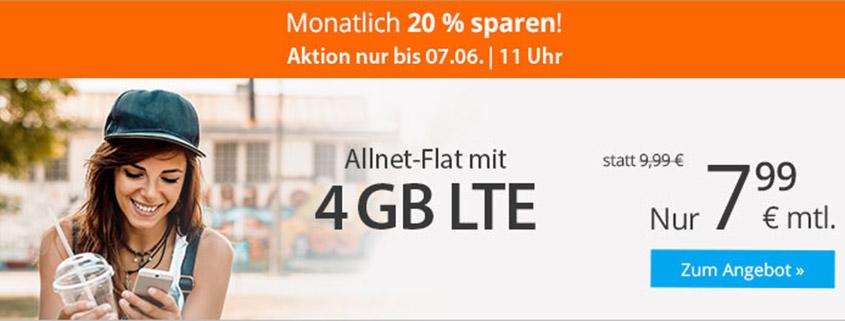 sim.de LTE all 4 GB für 7,99 €