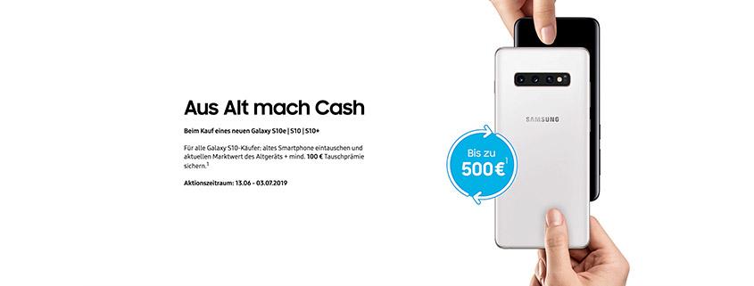 Jetzt neues Samsung Galaxy S10 kaufen und bis 500 € Cashback erhalten