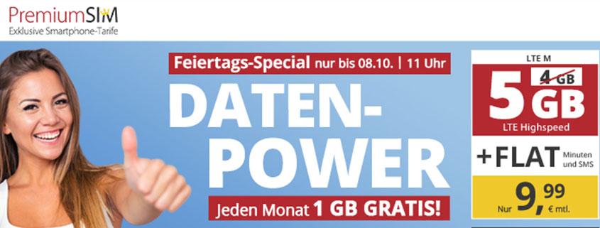 PremiumSIM LTE M mit 5 GB für 9,99 €/mtl.