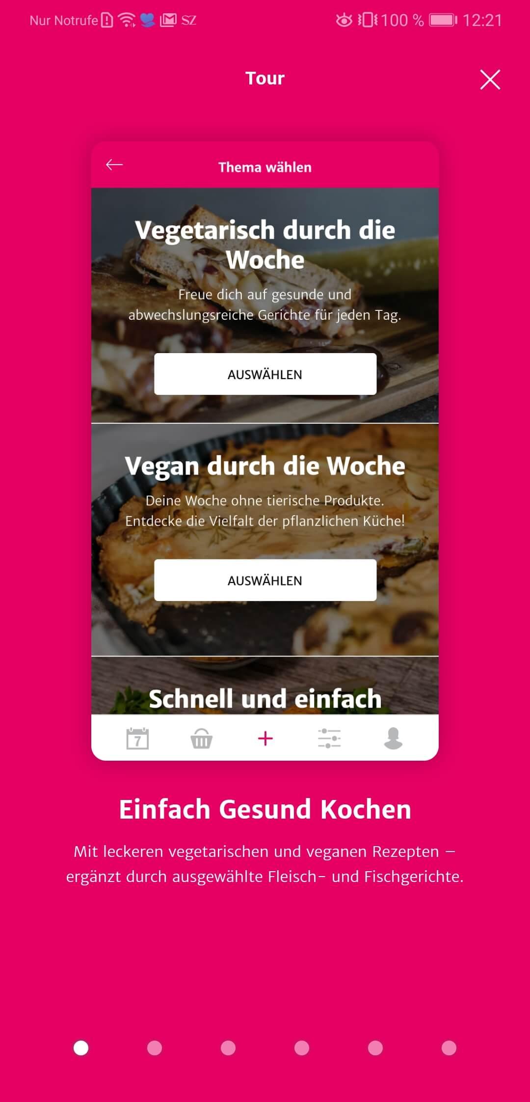 SevenCooks App Übersicht Gesundheit