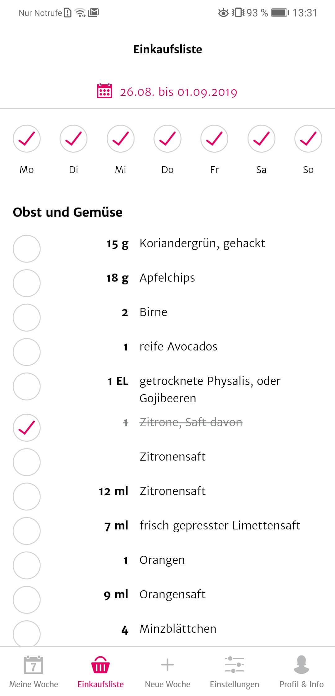 SevenCooks App Einkaufsliste
