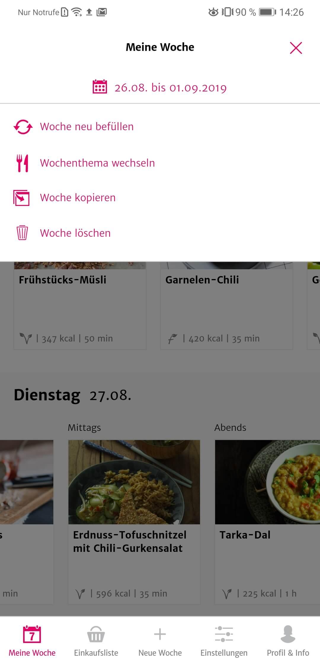 SevenCooks App Topdownmenü