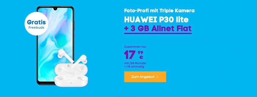 Bundle aus Blau Allnet M zusamemn mit Huawei P30 lite und FreeBuds