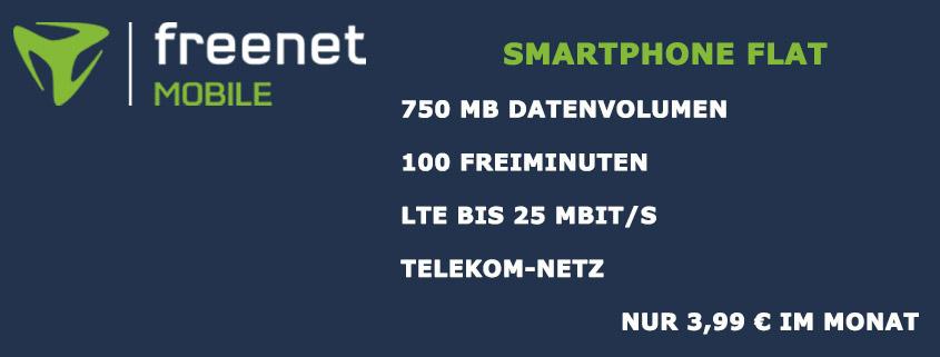 freenet Mobile Smartphone Flat für 3,99 € - 750 MB & 100 Frei-Minuten