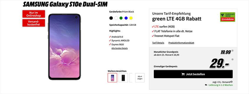 S10e + 4 GB LTE Allnet Flat für nur 19,99 €/mtl.