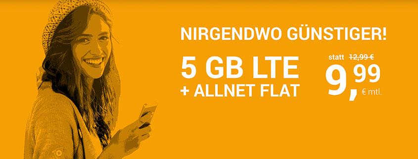 winSIM 5 GB LTE Allnet Flat für 9,99 €/mtl.