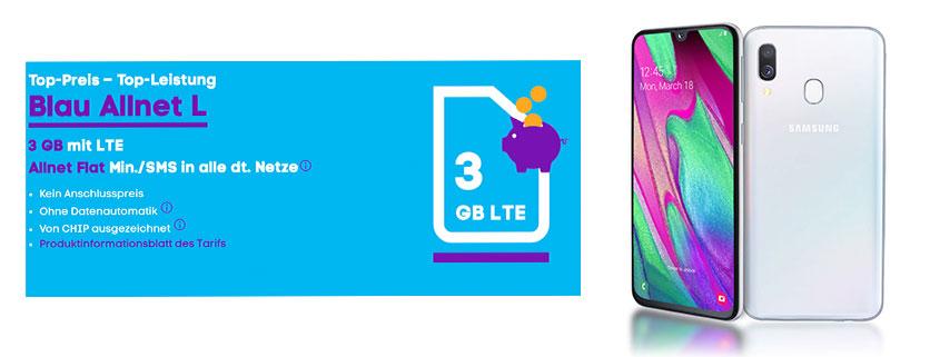 Samsung Galaxy A40 + 3 GB LTE Flat für 12,99 €