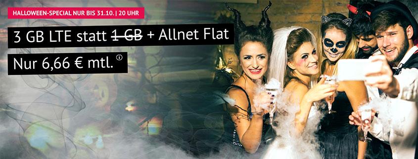 handyvertrag.de Halloween Special - 3 GB LTE Flat nur 6,66 €/mtl.