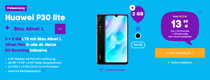 Huawei P30 lite inkl. 5 GB LTE Alles-Flat für 13,99 €/mtl.