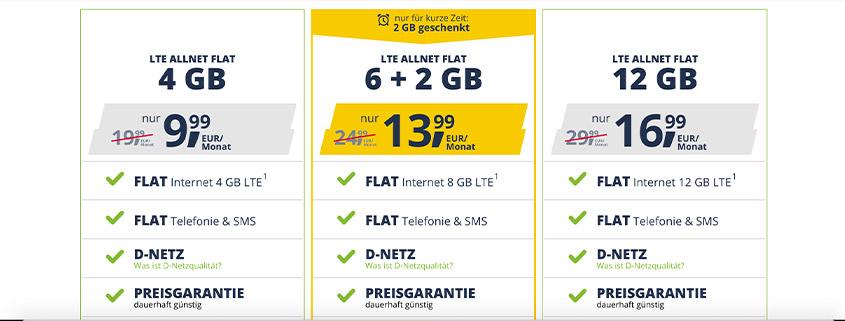 Aktion bei freenet Mobile - Allnet Flat 6 GB nun mit 2 GB zusätzlich