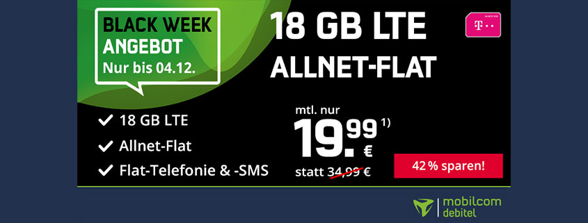 Black Week Deal - 18 GB Telekom Flat für 19,99 €