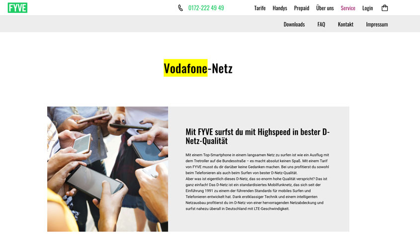 Screenshot FYVE Website Vodafone-Netz