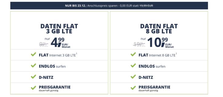 Daten Flat Tarife freenet Mobile