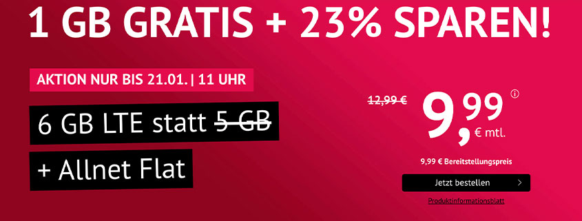 handyvertrag.de 6 GB LTE Allnet Flat für nur 9,99 €/mtl.