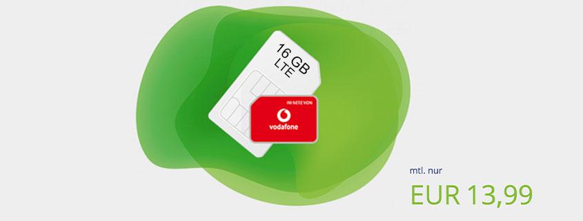 Vodafone 16 GB LTE Allnet Flat nur 13,99 €im Monat