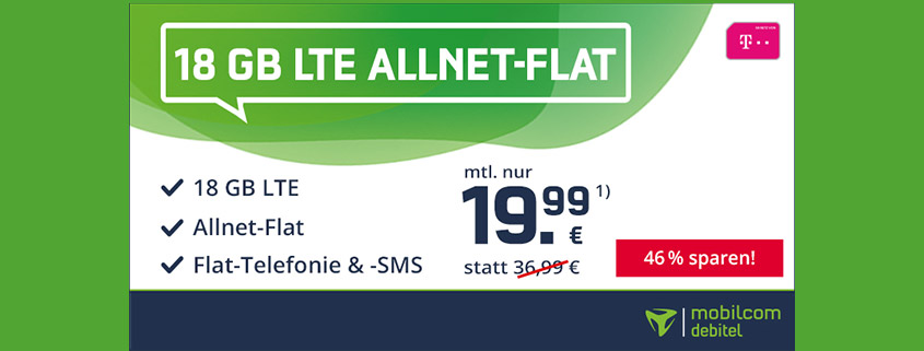 Top Deal - 18 GB Telekom Flat für 19,99 €