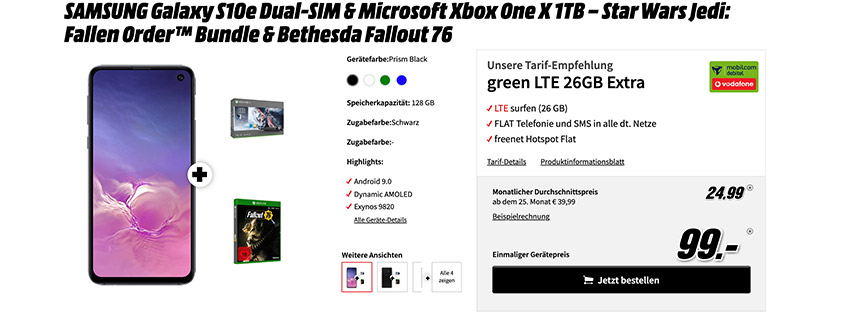 S10e + Xbox One X Star Wars Bundle + Zugabe + 26 GB LTE Flat für 24,99 €/mtl.