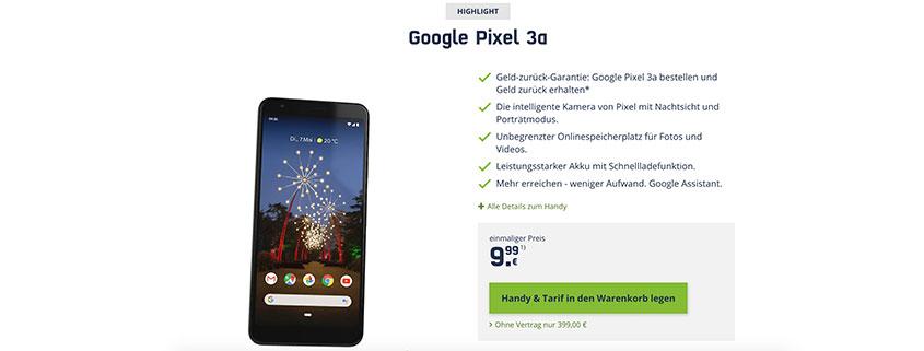Google Pixel 3a inkl. LTE Allnet Flat für 16,99 €