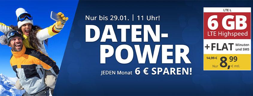 6 GB LTE Flat nur 8,99 €/mtl.