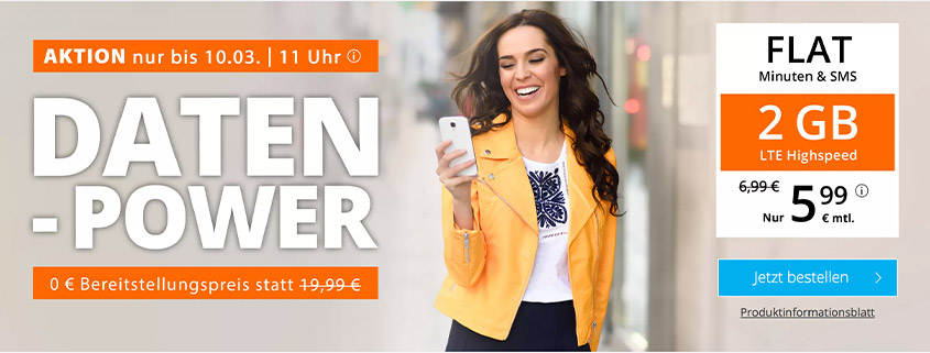 sim.de - LTE All 2 GB für 5,99 €/mtl.