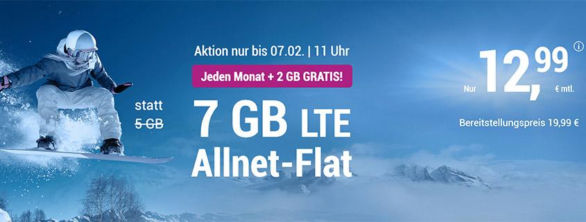 7 GB LTE Allnet Flat für 12,99 €/mtl.
