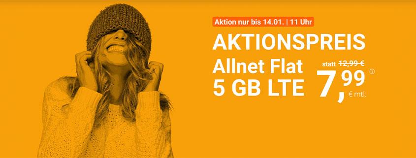 winSIM 5 GB LTE Allnet Flat für 7,99 €/mtl.