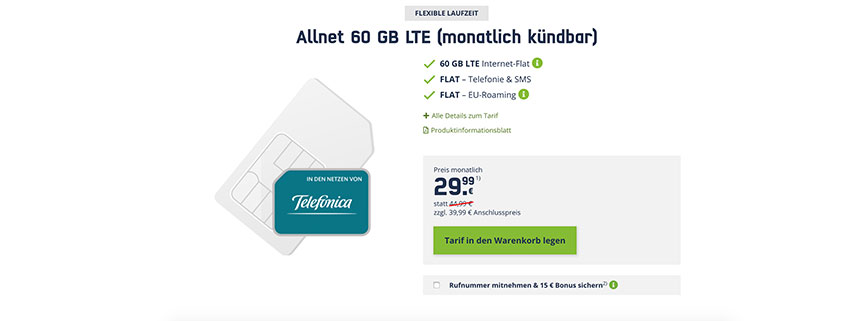 60 GB LTE Allnet Flat für nur 29,99 €/mtl. kündbar