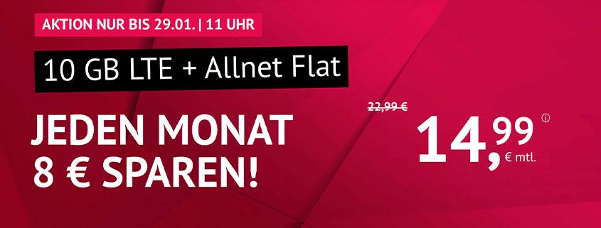 10 GB LTE Allnet Flat für 14,99 €/mtl.