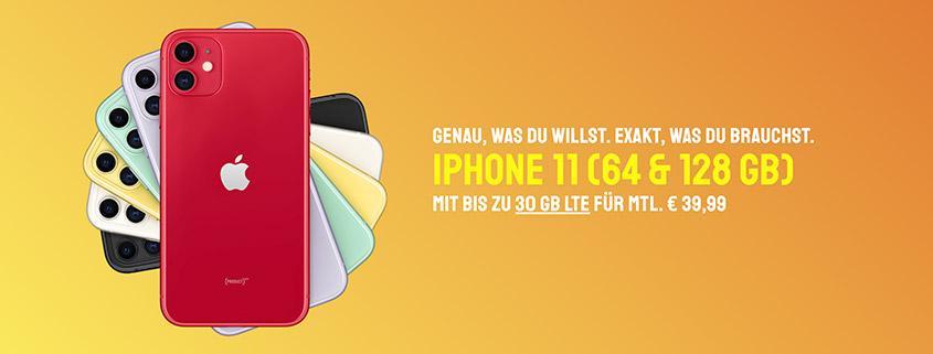 iPhjone 11 inkl 30 GB LTE Allnet Flat für 39,99 €/mtl.