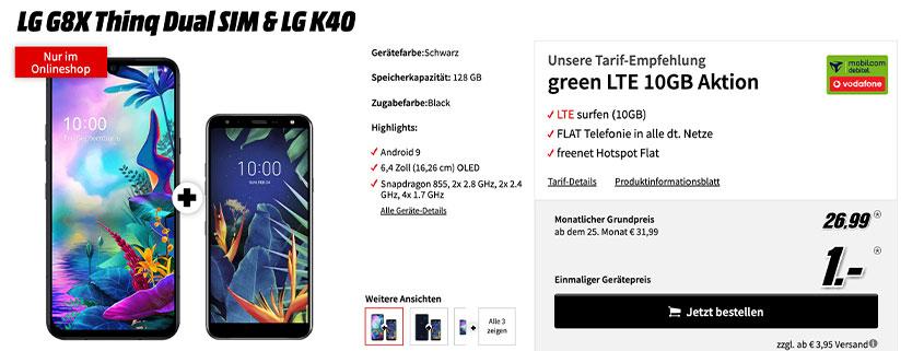 LG G8X Thinq Dual SIM + LG K40 & 10 GB Tarif für 26,99 €/mtl.
