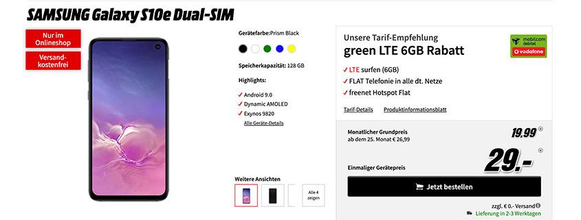 Samsung S10e + 6 GB Vodafone LTE Flat für 19,99 €/mtl.