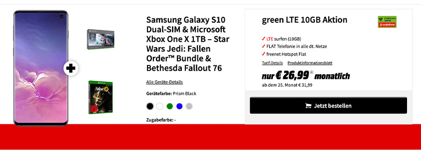 Samsung S10 + Xbox One X Star Wars + 10 GB Flat für 26,99 €/mtl.