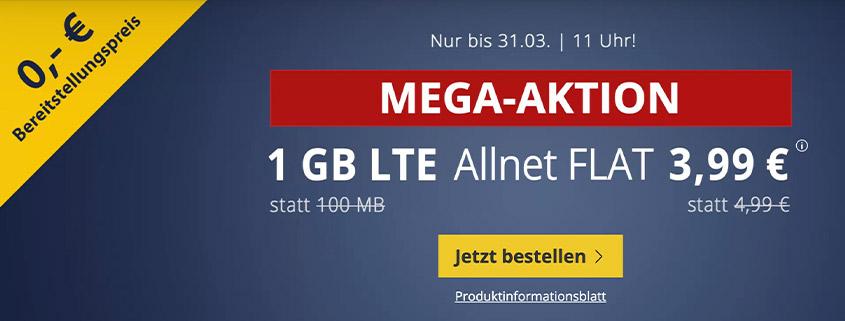 PremiumSIM LTE XS mit 1 GB LTE Daten & Allnet Flat für 3,99 €/mtl.