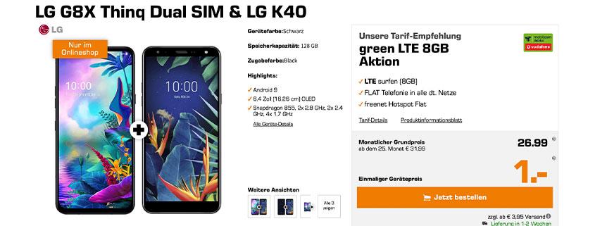LG G8X +LG K 40 & 8 GB Vodafone Tarif für 26,99 €/mtl.