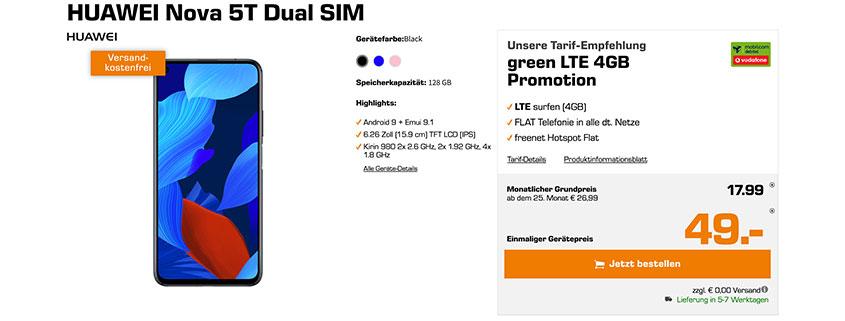 Huawei Nova 5T + 4 GB Flat für 17,99 €/mtl.