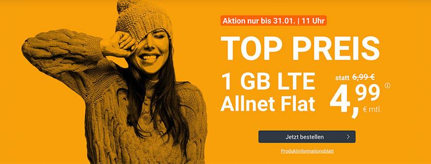 1 GB LTE Allnet Flat nur 4,99 €/mtl.