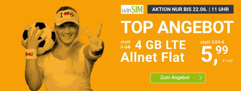 winsim LTE All 4 GB Aktionstarif für nur 5,99 € im Monat