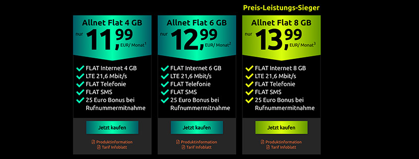 Neue Tarife bei crash - Vodafone Allnet Flat schon ab 11,99 €/mtl.