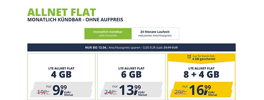 freenet Mobile ohne Anschlusspreis schon ab 9,99 €/mtl.