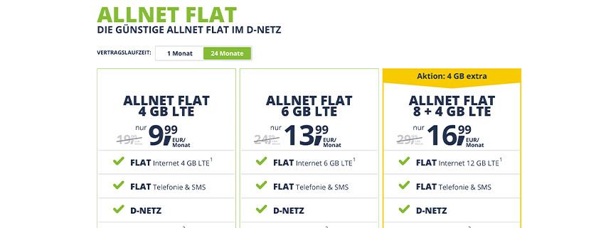 freenet Mobile Allnet Flat ab 9,99 €/mtl.