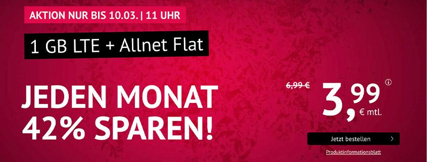 1 GB LTE Allnet Flat für nur 3,99 €/mtl.