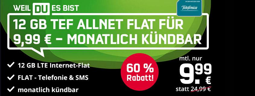 Mega Black Deal: monatlich kündbare 12 GB LTE Allnet-Flat nur 9,99 €/mtl.