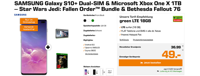 Samsung Galaxy S10+ inkl. Xbox One X Star Wars Bundle für 36,99 €/mtl.