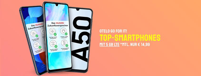 otelo 5 GB LTE Flat + Top Smartphone für 14,99 €/mtl.