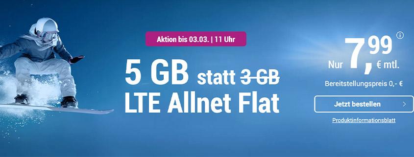 5 GB LTE Allnet Flat für 7,99 €/mtl.