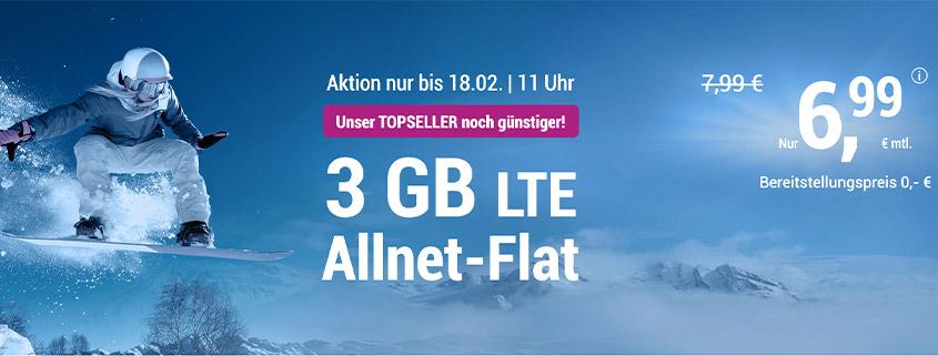 simply 3 GB LTE Flat für 6,99 €/mtl.