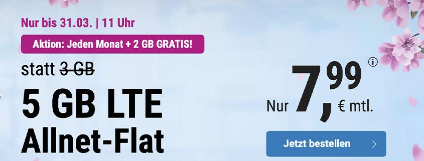 simply bietet 3 + 2 GB LTE Flat für 7,99 € pro Monat