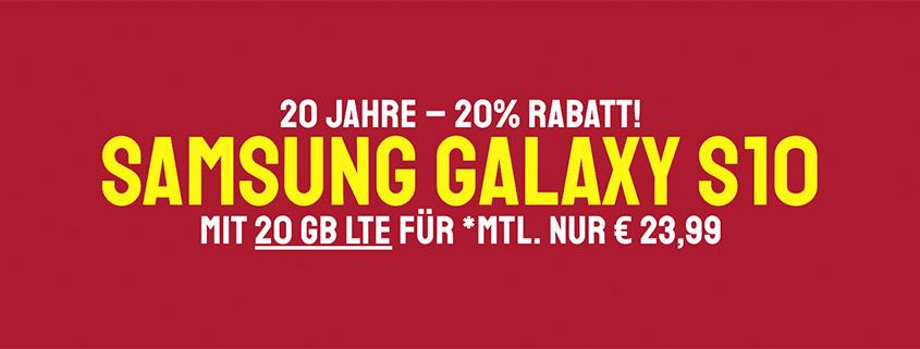 Samsung Galaxy S10 + 20 GB LTE Allnet-Flat für 23,99 € im Monat