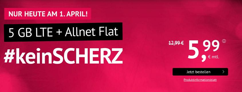 5 GB LTE Allnet Flat für 5,99 €